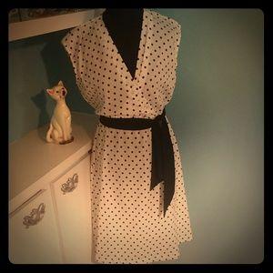 Vintage Union Made White & Black Polka Dot Dress
